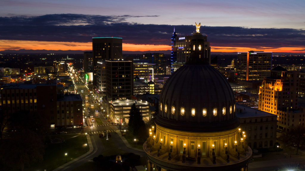 Idaho state capitol and downtown Boise at sunset